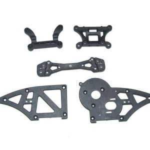 YEL12006 Chassis side plates B + shock towers Yellow RC