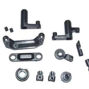 YEL12009 Steering assembly + servo saver + batterydoor block/lock