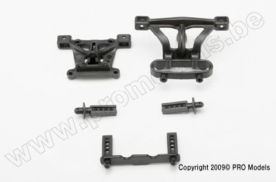 Body mounts, front & rear/ body mount posts, front & rear
