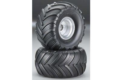 3665 Traxxas Tires & wheels, assembled, glued Monster Jam