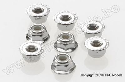 Traxxas 3647 Nuts, 4mm flanged nylon locking (steel, serrate
