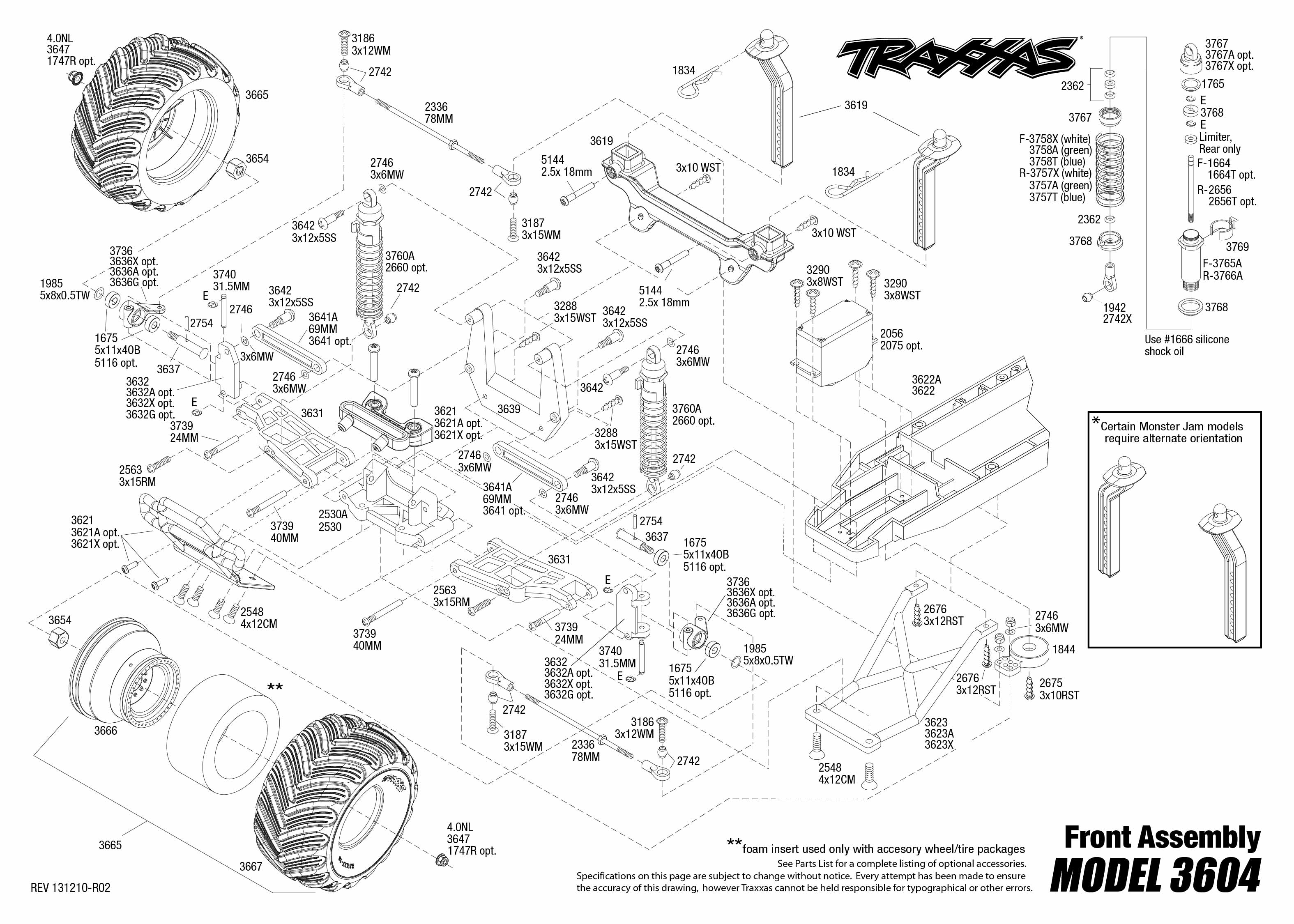 Stampede 4x4 Vxl Parts Diagram Traxxas 1 10 Scale 2wd Monster Truck 3607l Exploded Views Voor Modellen 3150x2250